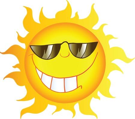 sol caricatura: Sonriendo Carácter Caricatura de un sol con gafas de sol