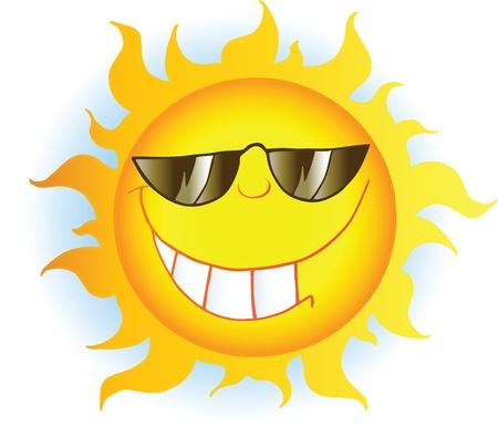 sun energy: Smiling Sun Cartoon Mascot Character With Sunglasses