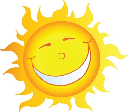 sol caricatura: Feliz sol sonriente personaje de dibujos animados