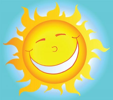 sun flares: Smiling Sun Cartoon Character