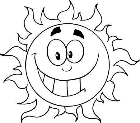 Outlined Happy Sun Cartoon Character