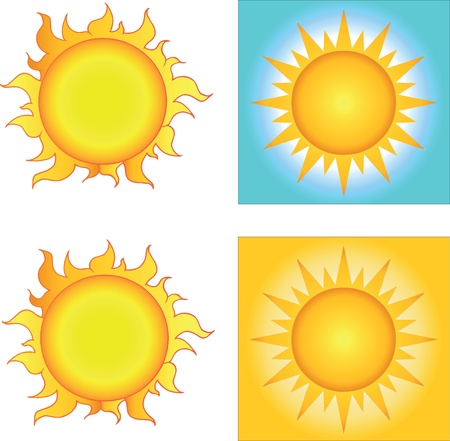 Different Sun Designs  Collection  Vector