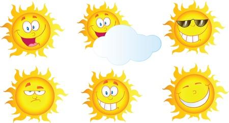 sun energy: Different Sun Cartoon Mascot Characters  Collection  Illustration