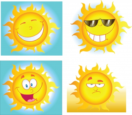 Different Sun Cartoon Characters  Collection  Vector