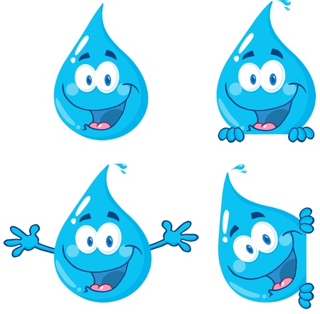 Water Drop Cartoon Mascot tekens 1 Stock Illustratie