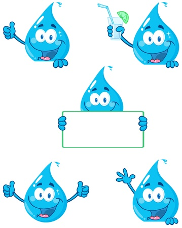 Water Drop Cartoon Mascot Characters 2 Vector