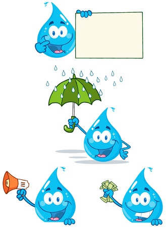 Water Drop Cartoon Mascot Karakters 3 Stock Illustratie