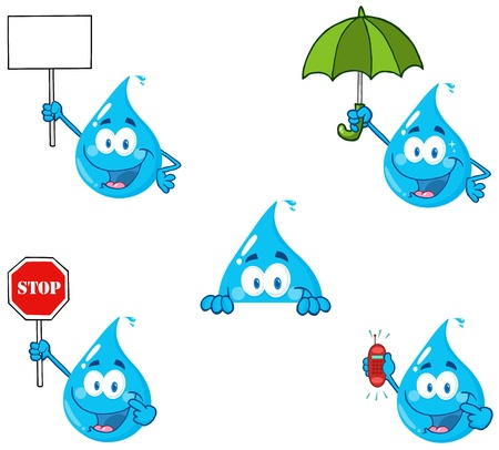 Water Drop Cartoon Mascot Characters 4 Vector