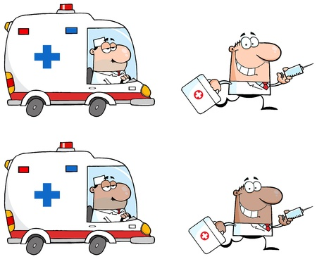 Doctors Running With A Syringe And Bag From Ambulance Vector