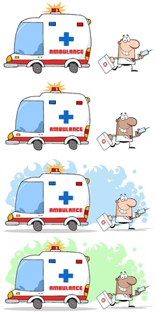 Doctor Running With A Syringe And Bag From Ambulance Vector