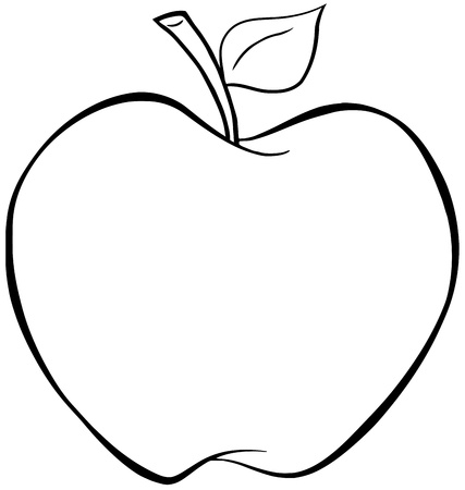 outlined isolated: Outlined Cartoon Apple