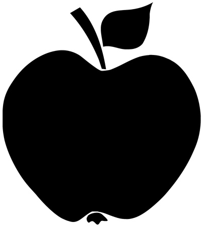 apple isolated: Apple Black Silhouette