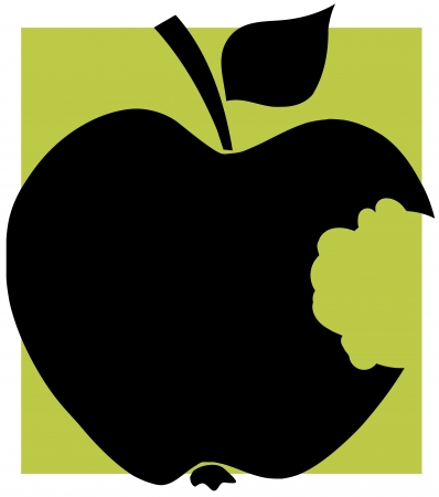 yellow apple: Bitten Apple Black Silhouette With Green Background