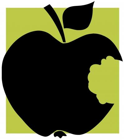 bitten: Mordida de Apple Negro silueta con el fondo verde