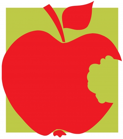 Bitten Apple Red Silhouette With Green Background Vector