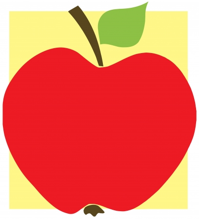 Red Apple With Yellow Background Vector