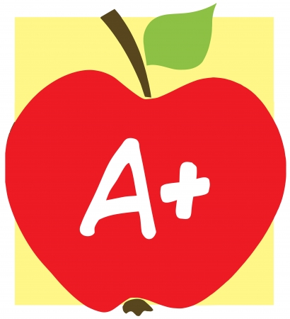 Apple With A  And Background Illustration