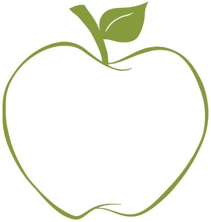 manzana caricatura: De Apple con el contorno verde