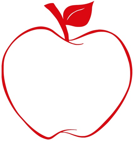 apple cartoon: Apple With Red Outline