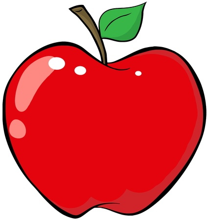 manzana roja: Cartoon Red Apple Vectores