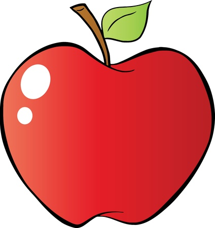 diet cartoon: Red Apple In Gradient