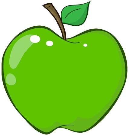 apple cartoon: Green Apple