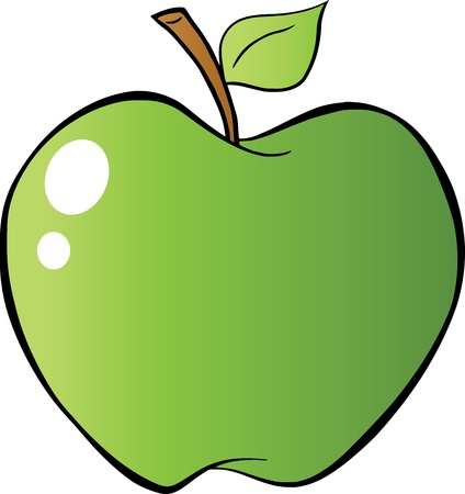 Green Apple In Gradient  Vector