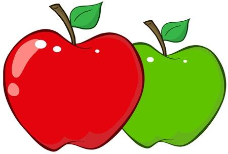 manzana caricatura: Manzanas rojas y verdes