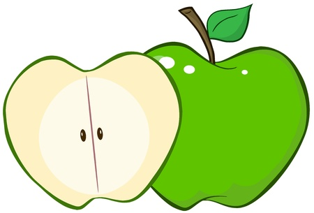 half of apple: Whole And Cut Green Apple Illustration