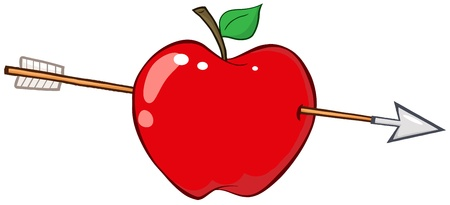 symbols metaphors: Arrow Through Red Apple