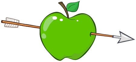 Green Apple Shot By An Arrow Vector