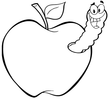 apple worm: Outlined Happy Worm In Apple