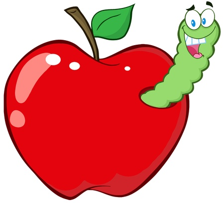 apple worm: Happy Worm In Red Apple