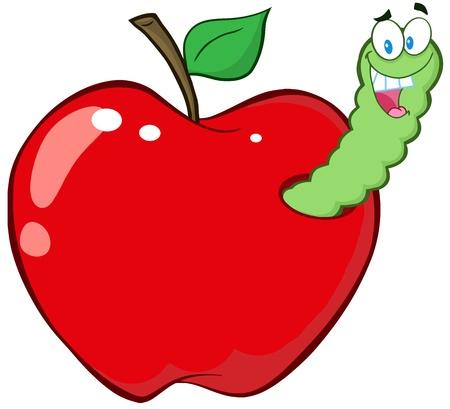 ver de terre cartoon: Worm Happy In Red Apple