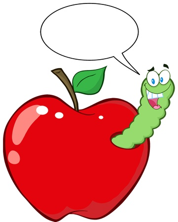 cartoon larva: Happy Worm In Red Apple With Speech Bubble