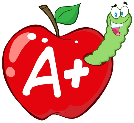 Happy Worm In Red Apple With Leter A
