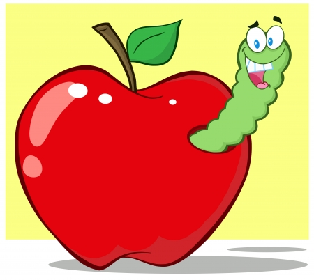 Smiling Worm In Red Apple Vector