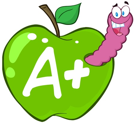 Happy Worm In Green Apple With Leter A  Vector