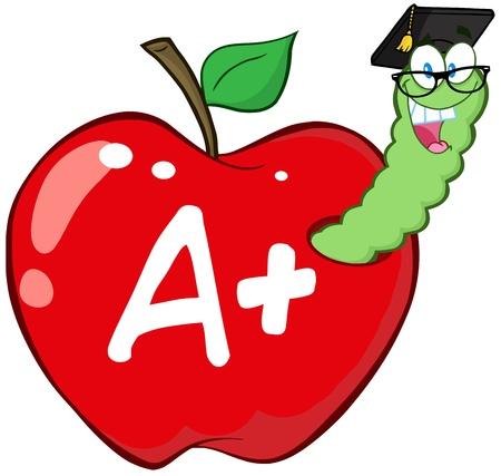ver de terre cartoon: Ver En pomme rouge avec Graduate Cap, des verres et leter Une
