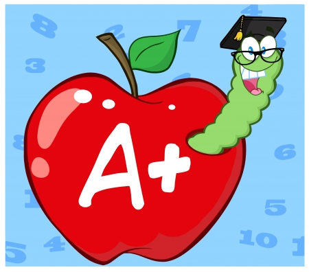 Worm In Red Apple With Graduate Cap And Glasses Vector