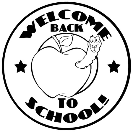 Outlined Worm In Apple Over Sticker With Text Back To School
