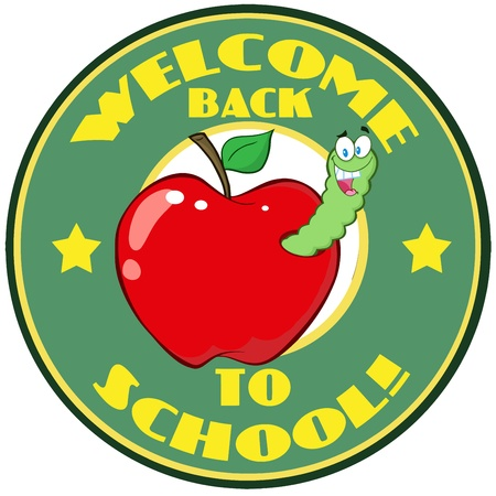 lombriz de tierra: Gusano feliz En Apple encima pegatina con el texto de nuevo a la escuela