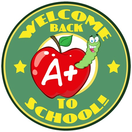 Happy Worm In Apple Over Sticker With Text Back To School  Vector