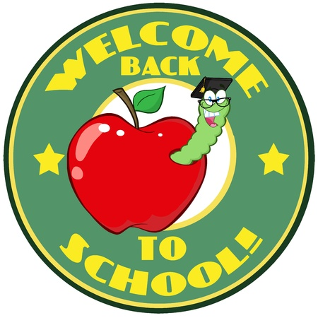 Worm In Apple Over Sticker With Text Back To School  Vector
