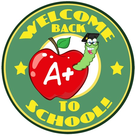 Worm In Apple Over Sticker With Text  Vector