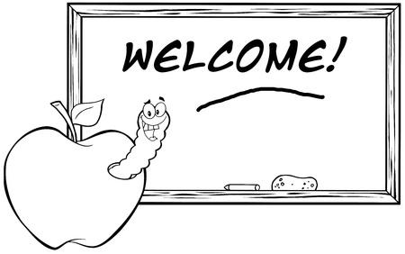 Outlined Happy Worm In Apple In Front Of School Chalk Board