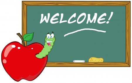 maggot: Happy Worm In Apple In Front Of School Chalk Board