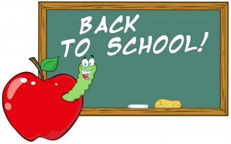 Worm In Apple In Front Of School Chalk Board Vector