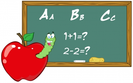 Smiling Worm In Apple In Front Of School Chalk Board Illustration