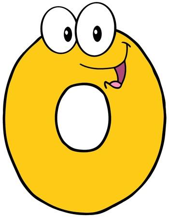 Number Zero Funny Cartoon Mascot Character 일러스트